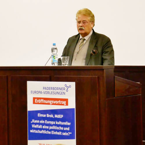 Europa-Vorlesung Uni Paderborn mit Elmar Brok