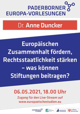 Paderborner Europa Vorlesung mit Dr. Anne Duncker